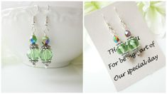 Peridot Earrings, Green Bridesmaid Earrings, Personalized Bridesmaids Gift, Personalized Gifts, Bridesmaid Jewelry, Beaded Earrings, Peridot by Uniquebeadables on Etsy