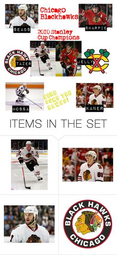"""blackhawks."" by quitecontrarymary ❤ liked on Polyvore featuring art, brent seabrook, patrick sharp, marian hossa, niklas hjalmarsson, patrick kane, chicago blackhawks and jonathan toews"