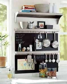 Decorating a Small Kitchen- Spot for measuring cups and meal plan