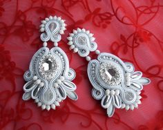 Soutache wedding earrings elegant unusual and by rododendron7