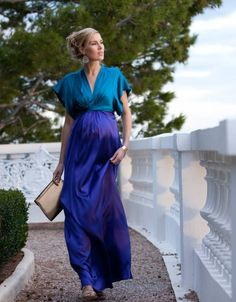 Color Block Silk Maternity Maxi Gown