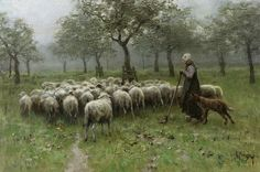 The Shepherdess Painting - Herderin Met Kudde Schapen / Shepherdess With A Flock Of Sheep by Anton Mauve Landscape Paintings, Painter, Dutch Painters, Dutch Artists, Oil On Canvas, Sheep Paintings, Painting, Painting Reproductions, Sheep Art