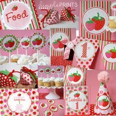 Strawberry Standard Party Package Instant Download :: dimpleprints :: $10