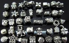 Mixed Lot of 50 Antique Silver Charms and Spacers