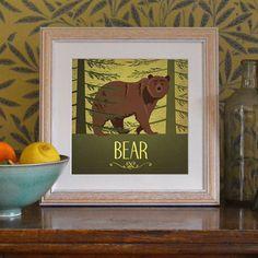 "Bear Print Original Design Animal Alphabet Poster Art Deco Vintage 1930's 1940's Childrens Baby Nursery 7x7"" Square Cute Beautiful Retro"