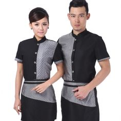 summer short sleeve ,high quality fabric,professional design Asian style hotel coffee bar waiter shirt short sleeve ,first 10 orders free apron wholesale will be much cheaper, Hotel Uniform, Uniform Shop, Uniform Shirts, Waitress Outfit, Waiter Uniform, Restaurant Uniforms, Staff Uniforms, Uniform Design, Denim Fabric