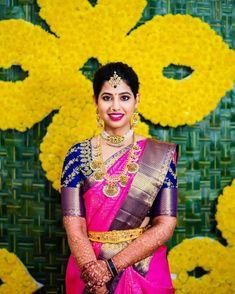 South Indian Wedding Saree, Indian Bridal Sarees, Bridal Silk Saree, Indian Bridal Fashion, South Indian Bride, Saree Wedding, Half Saree Designs, Fancy Blouse Designs, Bridal Blouse Designs