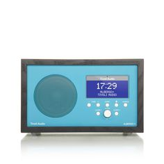Albergo+ table radio in blue with black wooden cabinet.