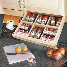 upper cabinet spice storage - the coolest thing ever!