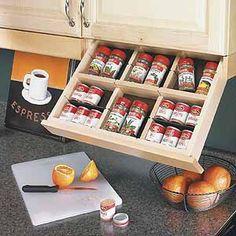 Super brilliant // upper cabinet spice storage - brilliant!
