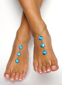 Chained Bohemian Barefoot Sandals Aqua Turquoise and Gold Anklet / Foot Jewelry … - diy jewelry To Sell Ideen Ankle Jewelry, Ankle Bracelets, Body Jewelry, Feet Jewelry, Beach Jewelry, Jewellery, Gold Anklet, Anklets, Estilo Hippie