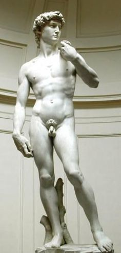 Le David de Michel-Ange - marbre de Carrare - 1501 - Florence Le David est un chef-d'œuvre de la sculpture de la Renaissance, réalisé par Michel-Ange entre 1501 et 1504. Michel-Ange a représenté David, une fronde (lanière de cuir servant de lance pierre) à la main, juste avant son combat contre Goliath.