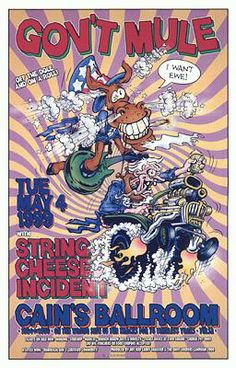 Original concert poster for Gov't Mule and String Cheese Incident at Cain's Ballroom in Tulsa, OK in 1999. 13 x 20.5 inches. Art by David Dean.