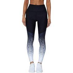 e96f8308061a Minisoya Women Ombre Patchwork Sports Yoga Pants Workout Trouser High Waist  Running Fitness Elastic Pencil Leggings (Blue