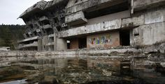 This photo shows an Olympic venue in Bosnia. It was for the Sarajevo's 1984 Winter Olympic. The photo was taken by the Lurkers graffiti artists.