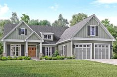 HOUSE PLAN 041-00144 – A striking exterior and equally stunning interior floor plan are featured highlights of this single level Craftsman house plan with overhead bonus room. There are approximately 2,004 square feet of living space that incorporates a fabulous open floor plan, three bedrooms, two plus baths and home office into the homes interior.