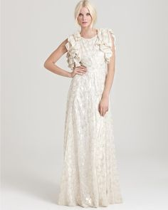 Rachel Zoe- Dasha Ruffle Sleeve Jacquard Gown...I must find this dress. It's perfect!