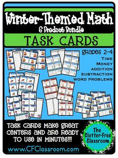 Clutter-Free Classroom: TASK CARD TUESDAY {Math Skill Review With a Winter Theme} Addition and Subtraction with and without regrouping.