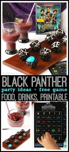 Black Panther Party Ideas   Party food, drinks, FREE printable game & more. Perfect for family movie night or kids birthday party #BlackPanther via @raisingwhasians (AD)