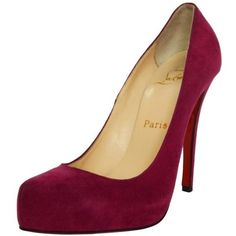 Preowned Christian Louboutin 120mm Magenta Suede Platform Pumps Sz... ($300) ❤ liked on Polyvore featuring shoes, pumps, heels, red, almond toe pumps, red platform pumps, high heel shoes, christian louboutin shoes and red heel pumps