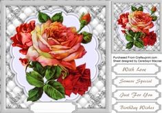 Lovely Monocrome and red Roses  on Craftsuprint - View Now!