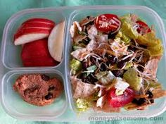 Healthy school lunch ideas for kids - Any salad w chips, croutons or cookies for a little crunch. Fruit to boot.