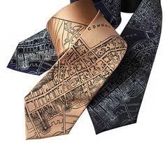 Boston Map Printed Necktie. 1814 vintage map print men's