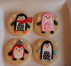 Cookie Decorating Websites   variety of penguins on round shaped cookies