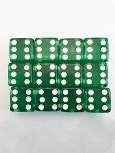 Crisloid New Old Stock Green Bakelite Prystal Boxed Set 12 Dice