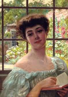 Portrait of a lady, bust length, in a white summer dress holding an open book; a walled summer garden beyond. Adolfo Belimbau (Italian, 1845-1938). Oil on canvas.  Belimbau shared ideas and beliefs with the Italian 'Macchiaioli' school of painters and worked in a studio with Eugenio Cecconi. Works by him can be seen in the Gallery of Modern Art, Pitti Palace, Florence.