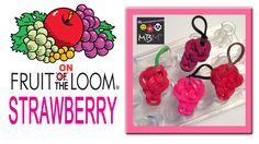 Fruit ON the Loom Charms - Strawberry Made on the Wonder Loom, can also be made on the Rainbow Loom, Crazy Loom, Bandaloom, or any other staggered loom!