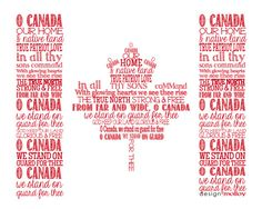 O Canada National Anthem Flag Word Art Print Typography - Canadian flag art work - red and white flag - teacher gift - maple leaf Canadian Things, I Am Canadian, Red And White Flag, Summer Typography, Typography Design, Canada Day Crafts, Canada Day Party, Science Words, Amigurumi