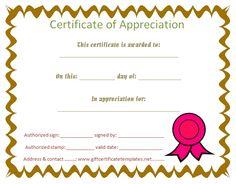 Student certificate of appreciation - Free Certificate Templates