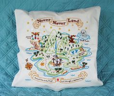 Never Never Land embroidered pillow, Disney Peter Pan, one-of-a-kind