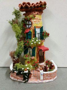 Clay Fairy House, Fairy Garden Houses, Fairy Gardens, P Clay Fairy House, Fairy Garden Houses, Gnome Garden, Indoor Fairy Gardens, Miniature Fairy Gardens, Indoor Gardening, Clay Houses, Ceramic Houses, Art N Craft