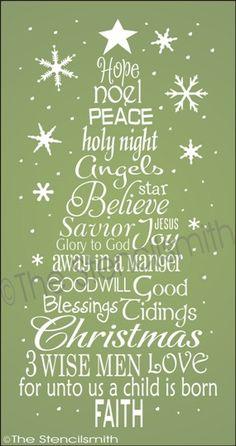 1862 - Christmas Word Tree - Faith-words tree christmas stencil faith typography subway star joy hope noel peace love