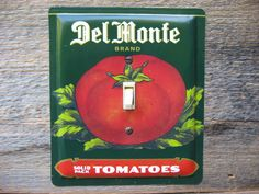 Single Switch Plate Made From An Old Del Monte Tomatoes Tin Canister SP-0069 #SwitchPlate #DelMonteTin #TinCanister