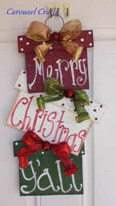 Wood Craft Presents for Christmas sign that says Merry Christmas YAll - Wood Crafting