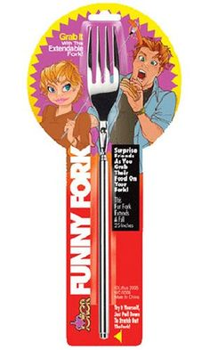 Funny Fork - Telescopic Table Ware, Extendable to inches: An ordinary-looking fork, that extends from 8 inches to 25 inches. A great gag for picnics and parties! Gag Gifts, Funny Gifts, Back Scratcher, Practical Jokes, Telescope, Kitchen Gadgets, Fork, Wands, Tableware