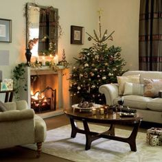 Nothing says Christmas like a tree next to the fireplace!
