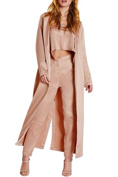Solid Color Long Lapel Collar Trench Coat