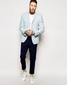 http://www.asos.com/ASOS/ASOS-Slim-Fit-Blazer-In-Summer-Tweed/Prod/pgeproduct.aspx?iid=4768484 #Blazer #Azul #Cielo