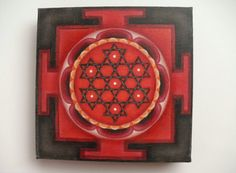 Lakshmi Vishnu Oil Painting, yantra mandala art, meditation art, sacred geometry, tantric art, red black handpainted miniature picture, OOAK