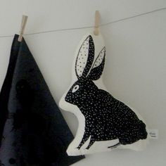 jackiepeppermint (Jacqueline Bos) on Etsy W/Heart Black Plush Spotted Bunny Pillow, organic cotton h16w11