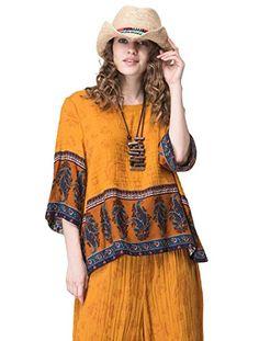 9755522963f Jiqiuguer Women Boho Cotton Linen Tops Tees Vintage Plus Size O-neck Floral  Print Patchwork Casual Summer Blouse Shirts