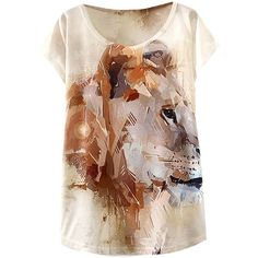 Khaki Coffee Lion Print Womens Casual T Shirt ($7.98) ❤ liked on Polyvore featuring tops, t-shirts, khaki top, brown t shirt, coffee t shirt, khaki t shirt and lion t shirt