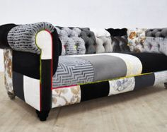 RESERVED listing for Noah: BLACK & WHITE chesterfield patchwork sofa + 5 throw pillows