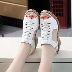 Leather Breathable Hollow Zipper Block Peep Toe Comfy Sandals is comfortable to wear. Shop on NewChic to see other cheap women sandals on sale. Pump Shoes, Shoes Sandals, Casual Heels, Women's Casual, Thick Heels, Sandals For Sale, Open Toe Sandals, Types Of Shoes, Leather Fashion