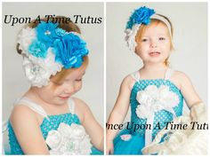Turquoise Couture Satin & Shabby Flower by OnceUponATimeTuTus