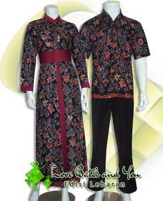 Batik Sarimbit Gamis cantik nan elegan, Bahan kombinasi batik halus (warna dasar hitam) dan satin velvet (merah tua). Kode : SBHP